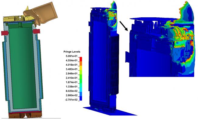 Моделирование высокоскоростного соударение турбины самолета с транспортным упаковочный комплектом